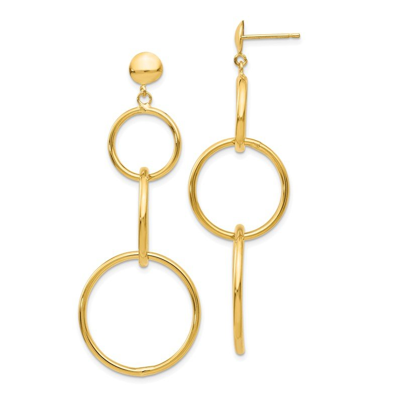 Fine Jewelry by JBD 14k Triple Ring Dangle Post Earrings