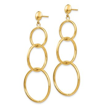 14k Triple Ring Dangle Post Earrings