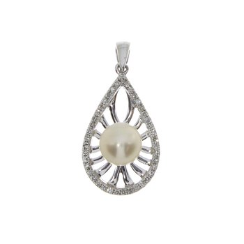 14k White Gold Pearl And Diamond SIngle Cut Pendant