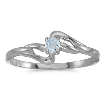 10k White Gold Round Aquamarine Ring