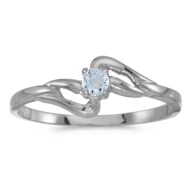 Color Merchants 10k White Gold Round Aquamarine Ring