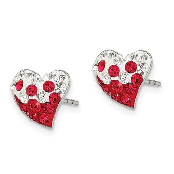Sterling Silver Red and White Preciosa Crystal Heart Earrings