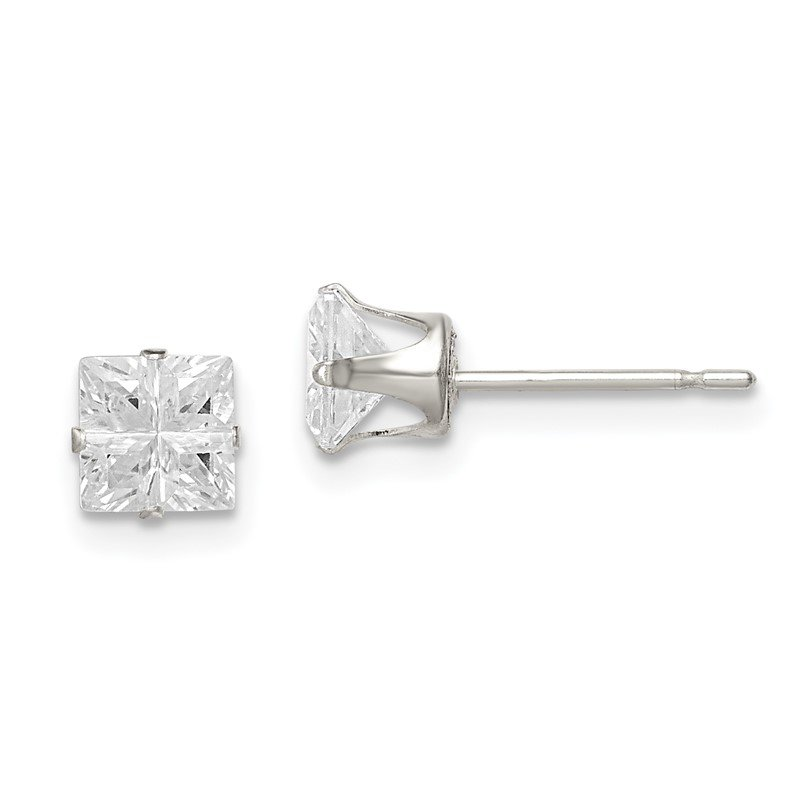 Quality Gold Sterling Silver 5mm Square Snap Set Cross-cut CZ Stud Earrings