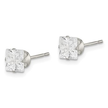 Sterling Silver 5mm Square Snap Set Cross-cut CZ Stud Earrings