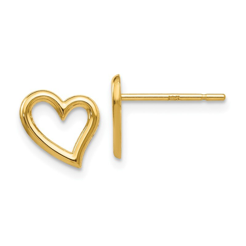Quality Gold 14k Gold Polished Open Heart Post Earrings