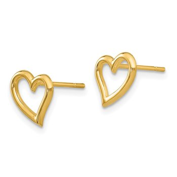 14k Gold Polished Open Heart Post Earrings