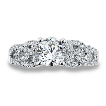 Diamond Engagement Ring Mounting in 14K White Gold with Platinum Head (.43 ct. tw.)