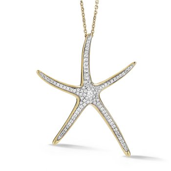 "14K Contemporary Diamond  Starfish Necklace 1 3/4"" diameter"