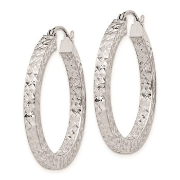 Sterling Silver Rhodium-plated Diamond-cut 3x30mm Square Tube Hoop Earrings