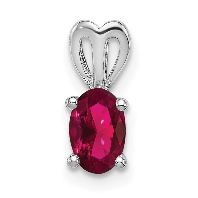 Quality Gold Sterling Silver Rhodium-plated Created Ruby Pendant