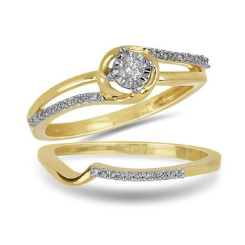 10K YG Diamond Mini Split Shank Ring with Miracle Set Center Dia with Fitting Band