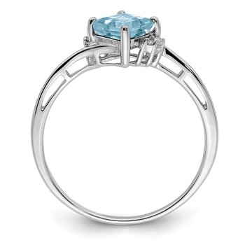 Sterling Silver Rhodium Plated Diamond & Aquamarine Square Ring