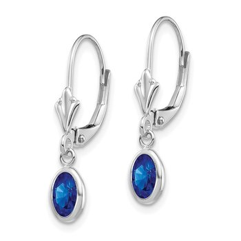 14k White Gold 6x4 Oval Bezel September/Sapphire Leverback Earrings