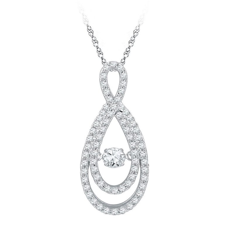 Gold-N-Diamonds, Inc. (Atlanta) 10kt White Gold Womens Round Diamond Moving Twinkle Solitaire Teardrop Pendant 3/4 Cttw