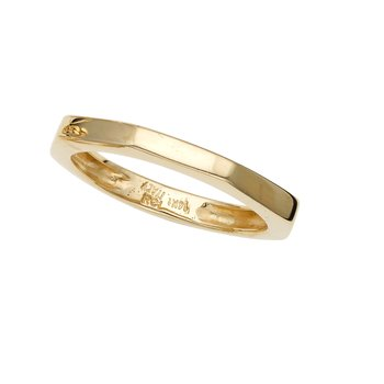14K Gold Polished Thin Hexagon Ring