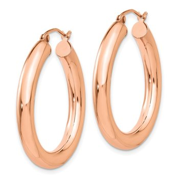 14k Rose Gold Polished 4mm Tube Hoop Earrings