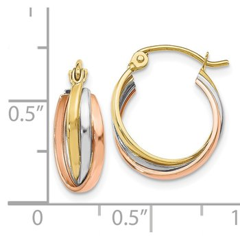 Leslie's 10K Tri-color Polished Hinged Hoop Earrings