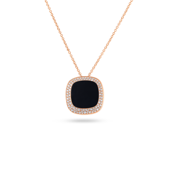 18KT GOLD SMALL PENDANT WITH BLACK JADE AND DIAMONDS