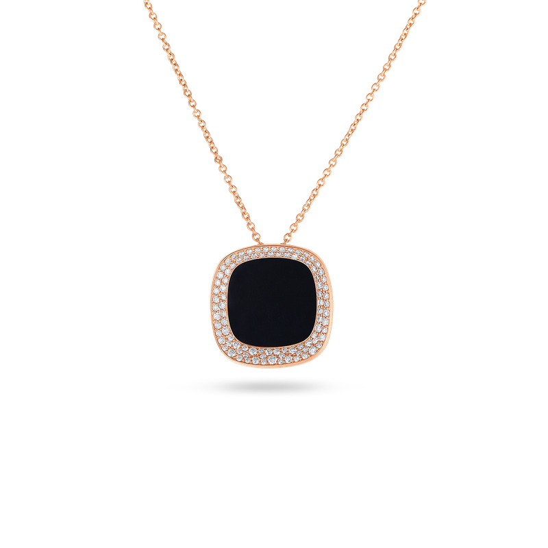 Roberto Coin 18Kt Gold Small Pendant With Black Jade And Diamonds