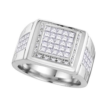 10kt White Gold Mens Princess Diamond Square Cluster Ring 1-5/8 Cttw