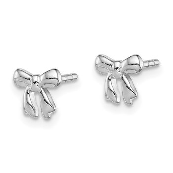 Sterling Silver Rhodium-plated Polished Bow Post Earrings