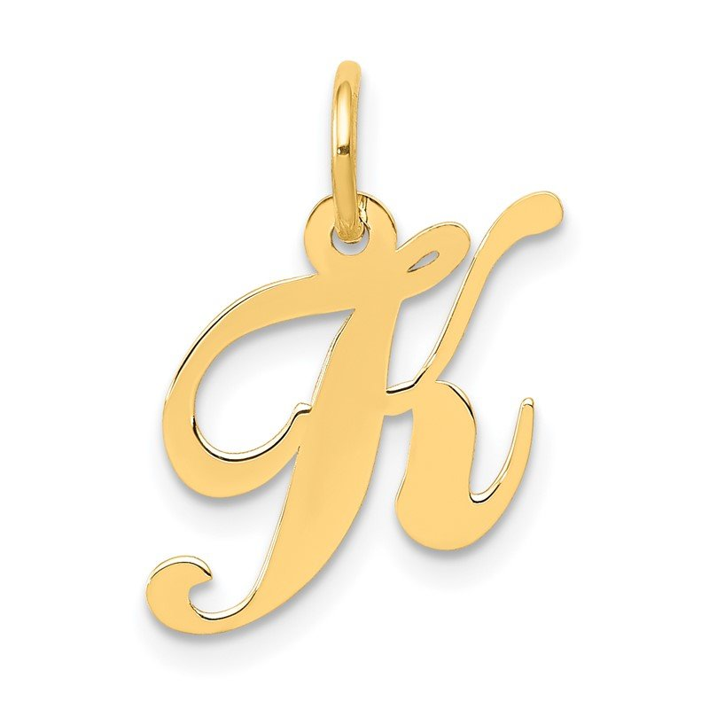 Quality Gold 14K Small Fancy Script Letter K Initial Charm