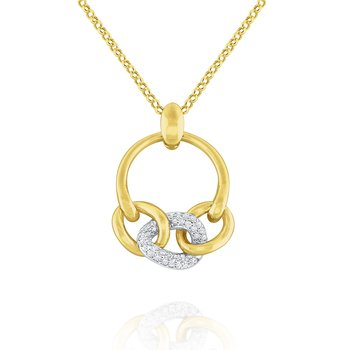 14k Gold and Diamond Bold Link Necklace