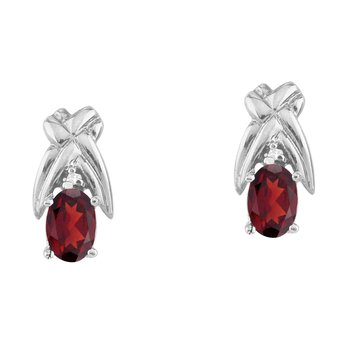 14k White Gold 6x4 mm Garnet and Diamond Oval Shaped Earrings