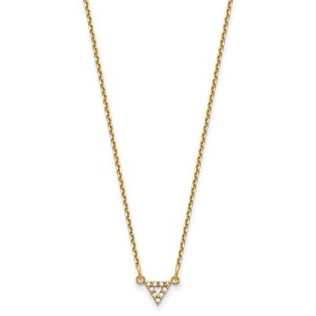 14k AA Quality Diamond 6mm Triangle Necklace