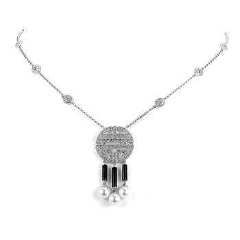 14K WG Diamond & Onyx & Pearl Fashion Necklace