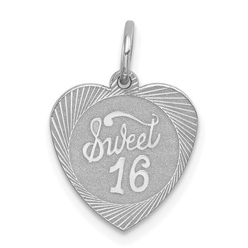 Sterling Silver Rhodium-plated Sweet Sixteen Heart Disc Charm