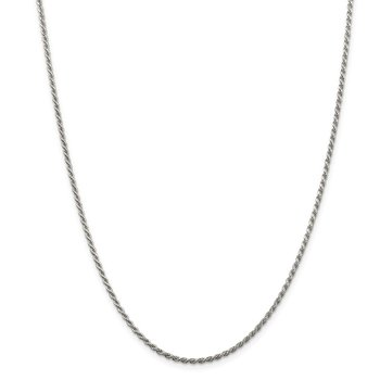 Sterling Silver Rhodium-plated 1.85mm Diamond-cut Rope Chain