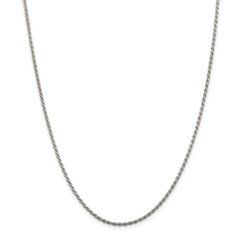 Quality Gold Sterling Silver Rhodium-plated 1.85mm Diamond-cut Rope Chain