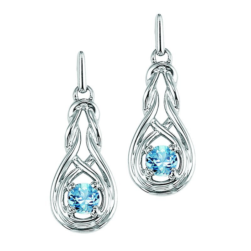 Mixables Silver Blue Topaz Earrings (Available In all BirthStones)