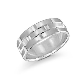 Trendy 8mm all white gold brick motif satin finish band with high polished grooved accents