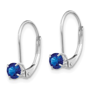 14k White Gold 4mm Round September/Sapphire Leverback Earrings