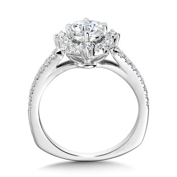 Decorative Straight Halo Engagement Ring