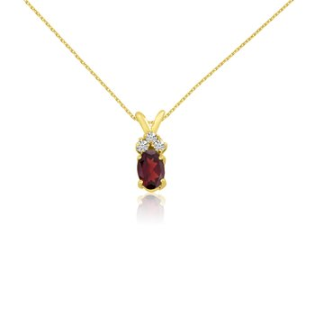 14K Yellow Gold Oval Garnet Pendant with Diamonds