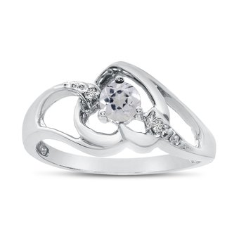 10k White Gold Round White Topaz And Diamond Heart Ring
