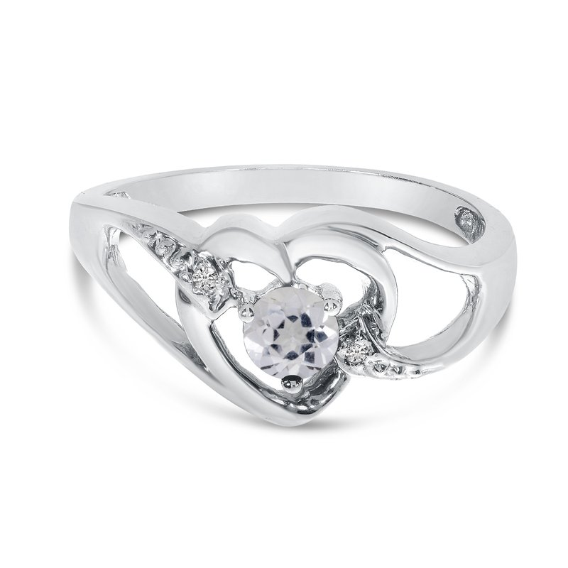 Color Merchants 10k White Gold Round White Topaz And Diamond Heart Ring