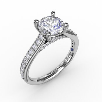 Classic Diamond Solitaire Engagement Ring With Diamond Band