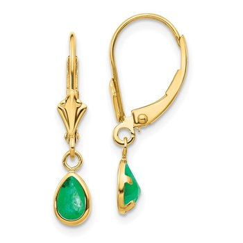 14k 6x4mm Emerald/May Earrings