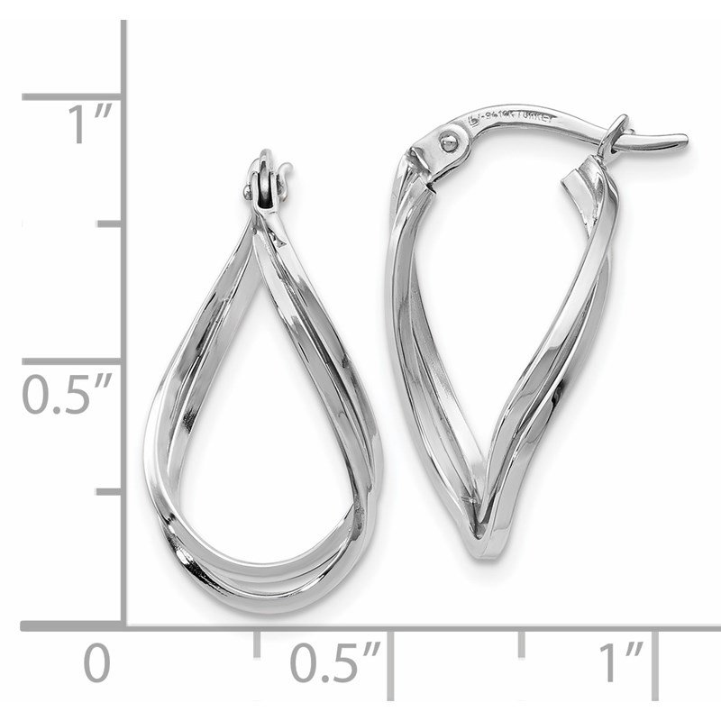 Leslie's Leslie's 14K White Gold Polished Oval Hinged Hoop Earrings