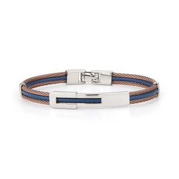 Bronze Cable & Blue Leather Bracelet with Steel Station