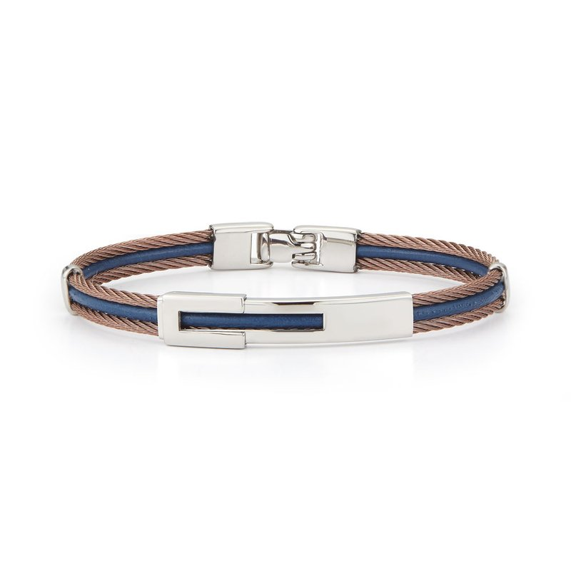 ALOR Bronze Cable & Blue Leather Bracelet with Steel Station