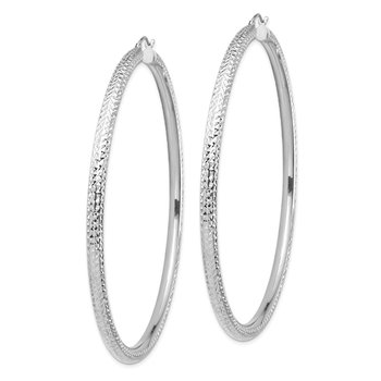 14k White Gold Lightweight 4mm Diamond-cut Hoop Earrings