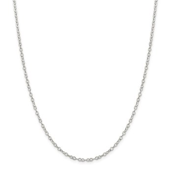Sterling Silver 2.5mm Flat Open Oval Cable Chain