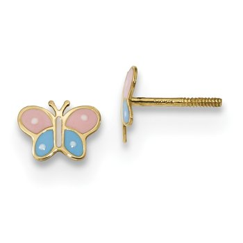 14k Madi K Polished Enameled Butterfly Screwback Post Earrings