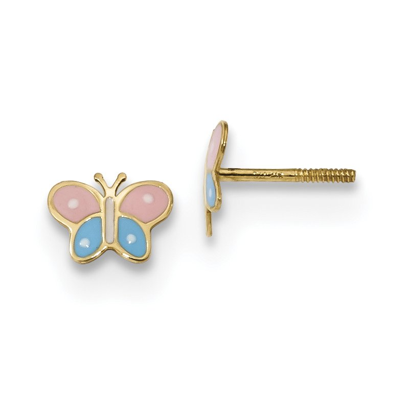 Quality Gold 14k Madi K Polished Enameled Butterfly Screwback Post Earrings