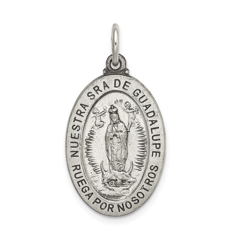 Quality Gold Sterling Silver Satin Antiqued Spanish Lady of Guadalupe Medal Pendant